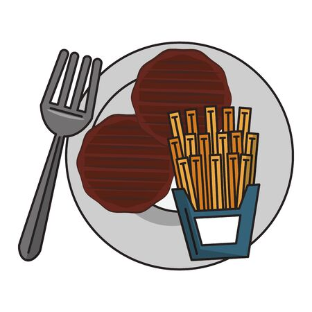Barbecue food burger and french fries with fork on dish vector illustration graphic design