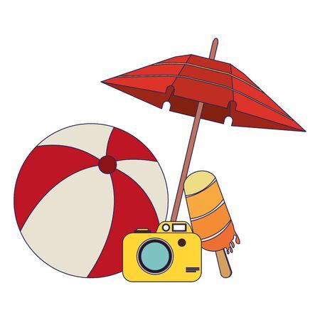 summer beach and vacation with beach ball, ice cream, photographic camera, umbrella icon cartoons vector illustration graphic design