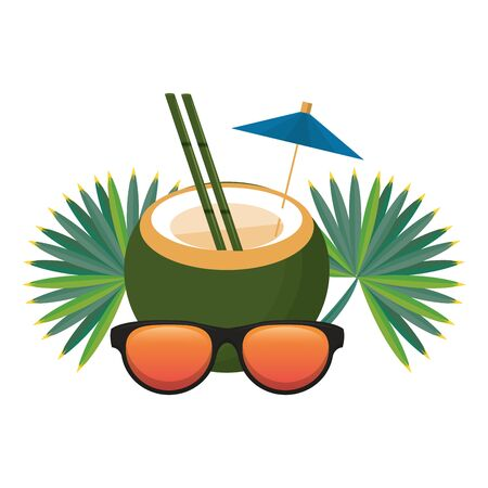 Summer and beach vacations coconut cocktail sunglasses and leaves cartoons vector illustration graphic design