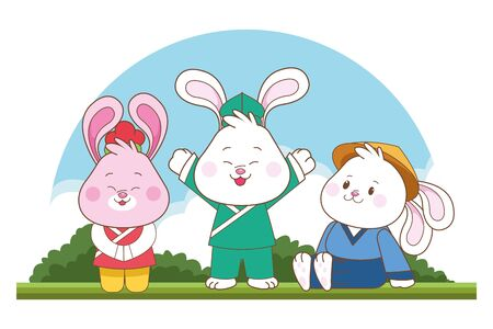 Rabbits celebrating mid autumn festival smiling with arms up cartoons in the forest, landscape background ,vector illustration graphic design. Stockfoto - 129276832