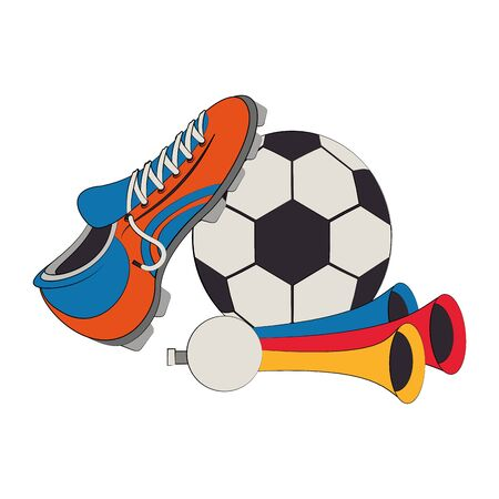 Soccer football sport game boot and ball with horns vector illustration graphic design 向量圖像