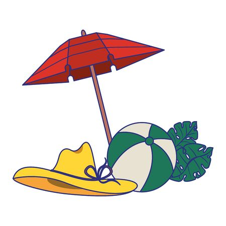 Summer and travel beach ball and umbrella with hat and leaves cartoons vector illustration graphic design