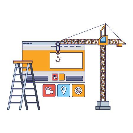 maintenance support technology web window construction cartoon vector illustration graphic design