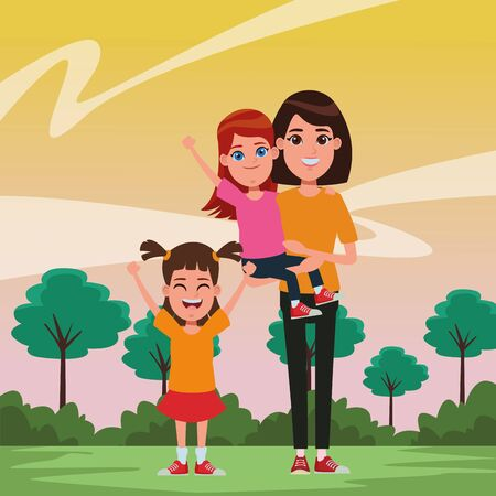 family avatar mother with short hair carrying a young girl next to a child profile picture cartoon character portrait outdoor over the  イラスト・ベクター素材