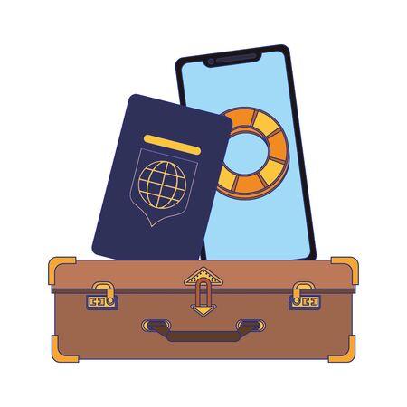 Travel vacations smartphone and passport on suitcase cartoons Illusztráció