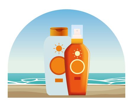 Sun bronzers bottles cosmetic products on beach scenery background ,vector illustration graphic design. Иллюстрация
