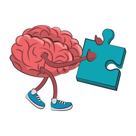 Gehirn mit Schuhen, die Puzzle-Cartoon-Vektor-Illustration-Grafik-Design halten