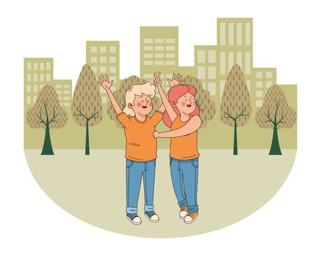 teenager friends boy and girl greeting and smiling in the city, urban scenery background vector illustration graphic design. Фото со стока - 129277024