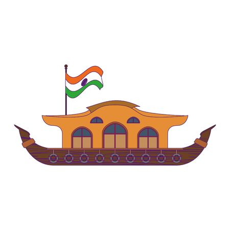 hindu ganges barge with indian flag icon cartoon vector illustration graphic design