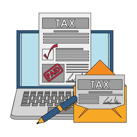 state government taxes business and personal finances mangement elements cartoon vector illustration graphic design Ilustração
