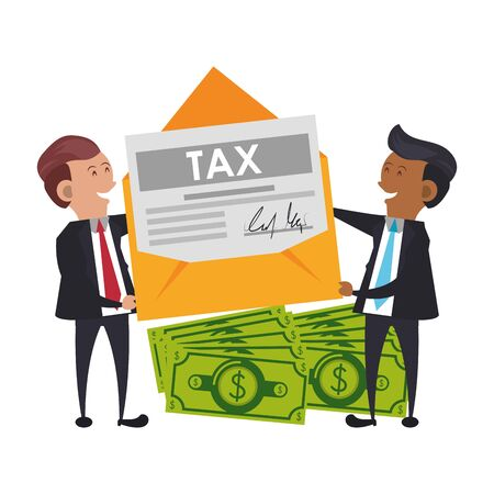 state government taxes business, executive business men managing personal saving money finances cartoon vector illustration graphic design Ilustracja