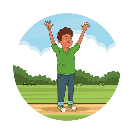 Teenager afro boy with arms up in the park scenery round icon vector illustration graphic design