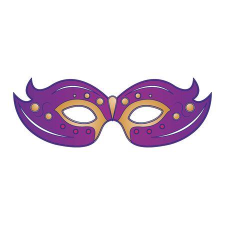 Fiesta de carnaval festivo decoración de máscara púrpura ilustración vectorial de dibujos animados diseño gráfico