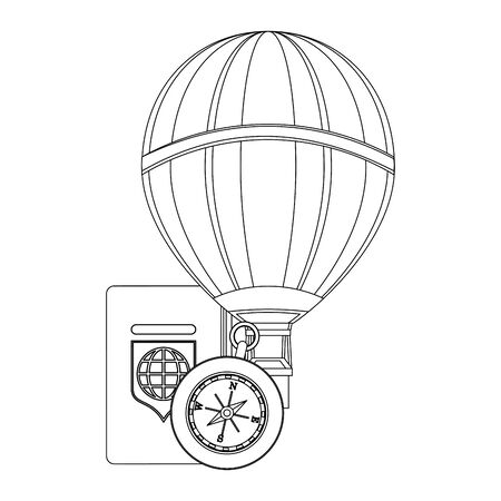 Travel vacations and summer passport with hot air balloon and compass cartoons vector illustration graphic design