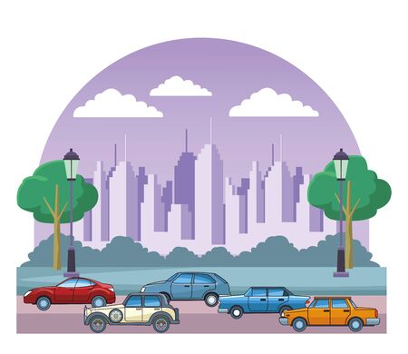Vintage and classic cars modern vehicles riding in the city urban background vector illustration graphic design. 스톡 콘텐츠 - 129377227