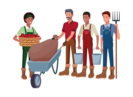 farm, animals and farmer group of people man with rake, afro american man with pails, man with moustache and pushing a wheelbarrow and sack and afroamerican woman holding a wicker basket vector illustration graphic design Banco de Imagens - 129377228