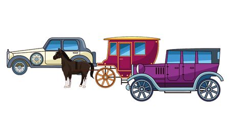 Classic cars and antique horse carriage, vintage and retro vehicles vector illustration graphic design. Banco de Imagens - 129377229