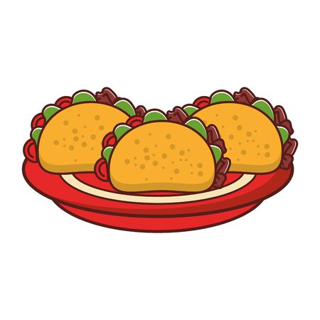 mexico culture and foods cartoons tacos with plate vector illustration graphic design