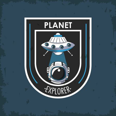 Space explorer patch emblem astronaut and UFO design on blue grunge background vector illustration graphic design