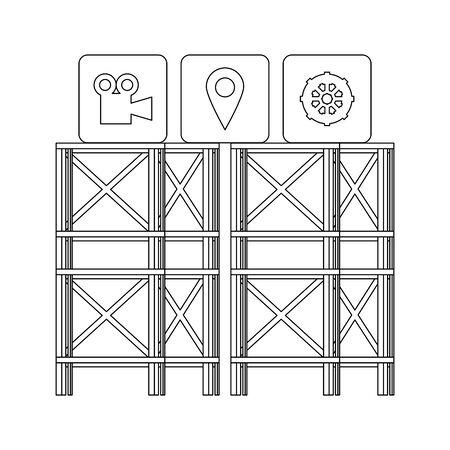 technology digital online modern media player icons cartoon vector illustration graphic design Illusztráció