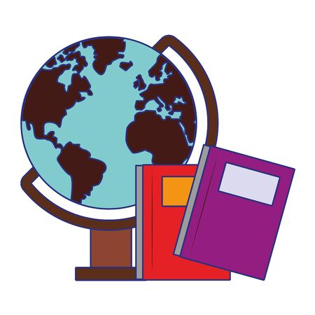 Back to school utensils books and world globe cartoons vector ilustration graphic design vector illustration graphic design