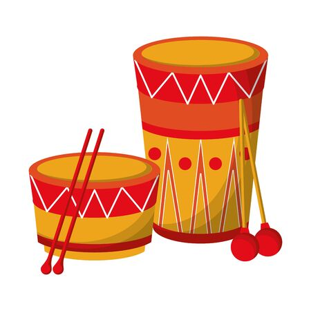 music instrument musical drums objects cartoon vector illustration graphic design