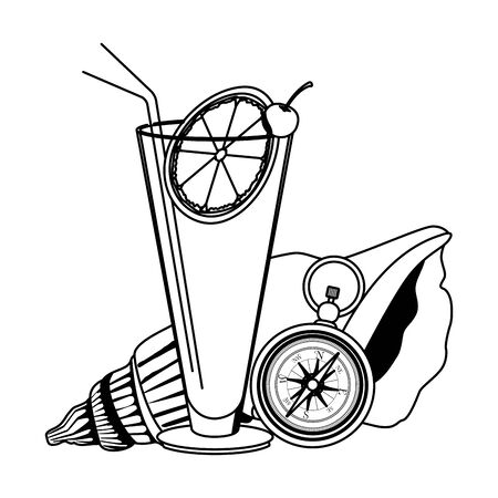 summer beach and vacation with seashell fruit cocktail compass icon cartoon in black and white vector illustration graphic design Standard-Bild - 129377237