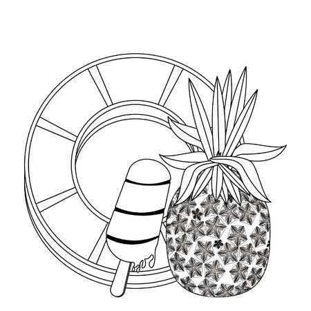 summer beach and vacation with pineapple, ice cream icon cartoons in black and white vector illustration graphic design Standard-Bild - 129363214