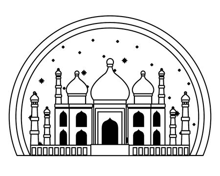 Taj mahal india antique monument building vector illustration graphic design
