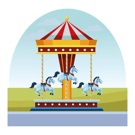 carousel fun in the morning isolated vector illustration graphic design