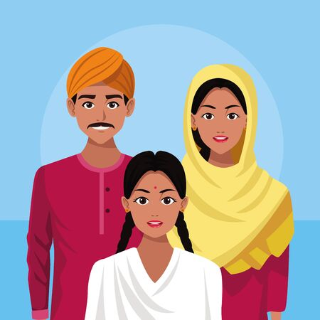 indian family ethnic of india wearing traditional hindu clothes on blue background vector illustration graphic design