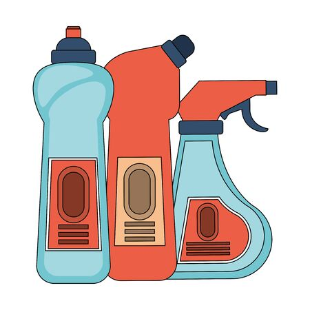 Cleaning equipment and products soap bottles and disinfectant vector illustration graphic design.