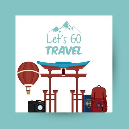 travel journey and tourism places with hot air balloon, passport into a bag, japanese gate with lets go travel sign icon cartoon vector illustration graphic design