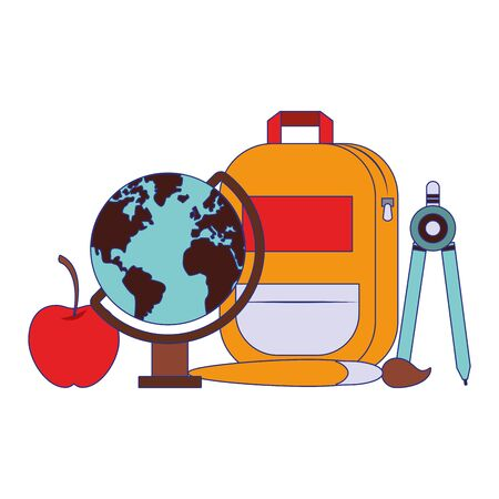 Back to school utensils backpack apple world globe and compass with paint brush cartoons vector illustration graphic design