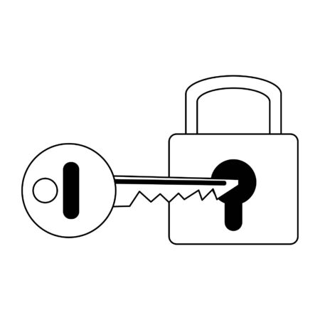 Padlock with key symbol vector illustration graphic design