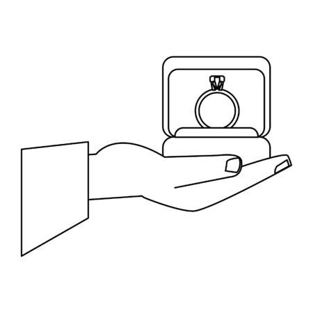Hand holding wedding ring box symbol vector illustration graphic design Standard-Bild - 129296691
