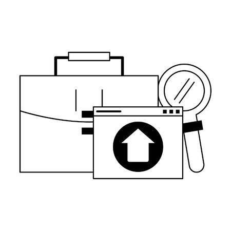 briefcase upload and magnifying glass icon cartoon vector illustration graphic design