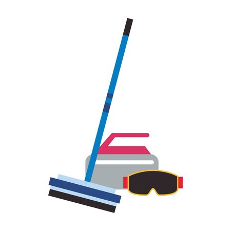Winter extreme sport equipment curling broom and stone with googles vector illustration graphic design Vektorové ilustrace