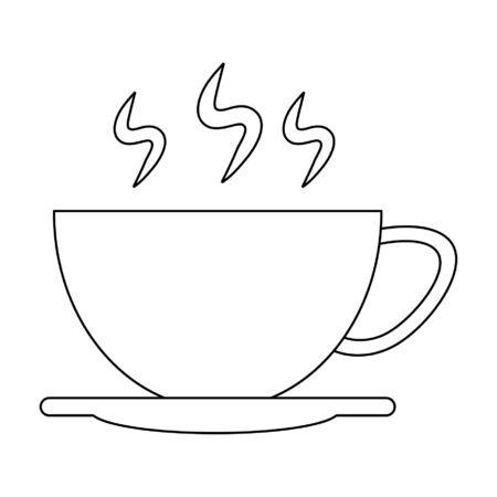 Hot coffee cup on dish vector illustration graphic design Иллюстрация