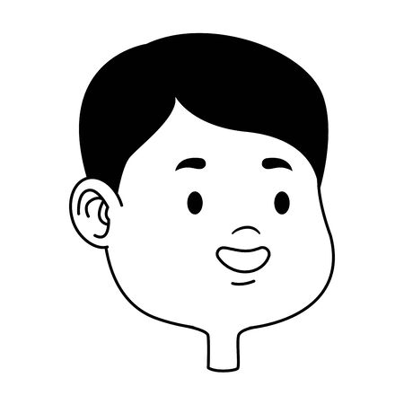 Cute young boy smiling face head cartoons ,vector illustration graphic design. Çizim