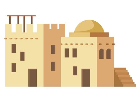 oriental antique aged desert buildings isolated cartoon vector illustration graphic design Banque d'images - 129323269