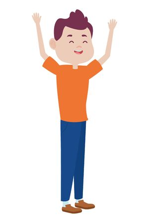 Teenager man greeting and smiling with casual clothes cartoon ,vector illustration graphic design.