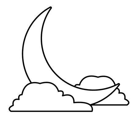 Quarter moon with clouds cartoons vector illustration graphic design Vecteurs