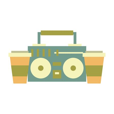 stereo and coffee cup symbols isolated Vector design illustration