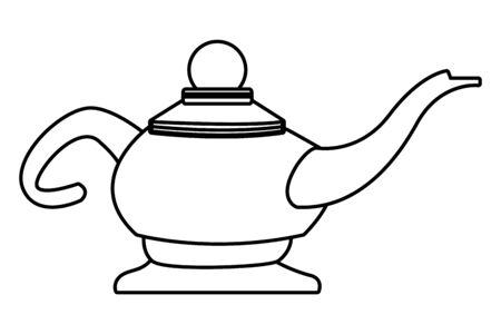 Antique magic lamp cartoon isolated vector illustration graphic design Ilustração