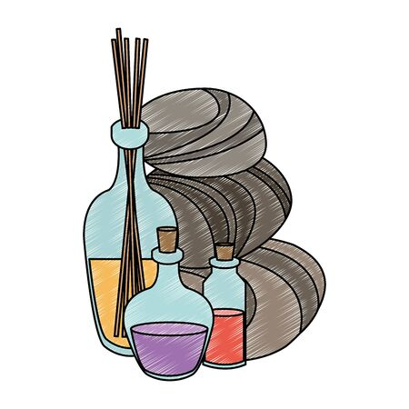 Spa oil bottles with flower on pot vector illustration graphic design