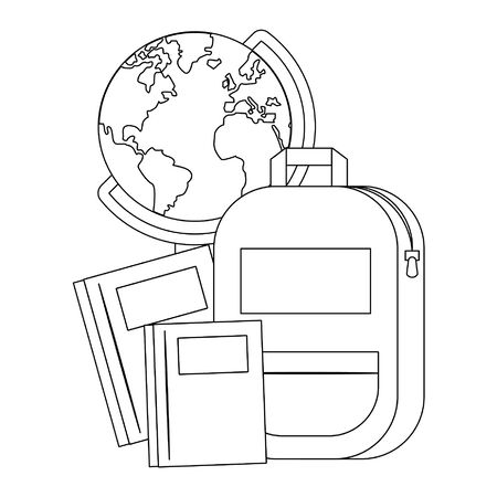 Back to school utensils world globe and backpack with notebooks cartoons vector illustration graphic design 版權商用圖片 - 129327756