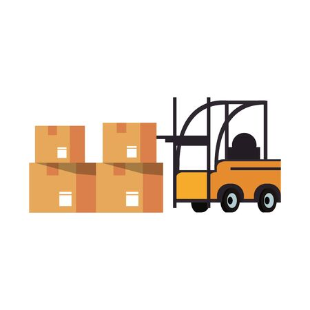 Forklift with delivery cardobard boxes isolated vector illustration