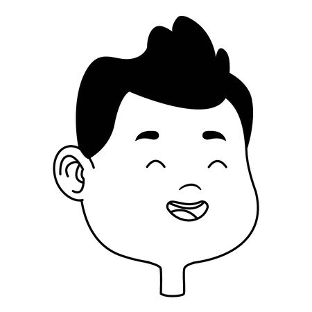 Cute young boy smiling face head cartoons ,vector illustration graphic design. Banque d'images - 129327760