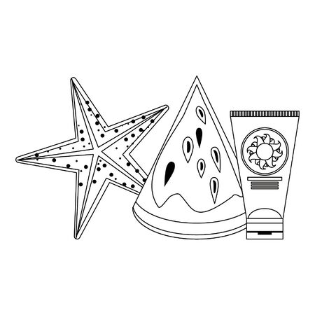 summer beach and vacation with starfish, sunscreen and watermelon icon cartoons in black and white vector illustration graphic design Illusztráció